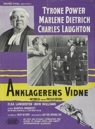 Witness for the Prosecution - Danish Movie Poster (xs thumbnail)