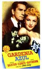 The Blue Gardenia - Spanish Movie Poster (xs thumbnail)