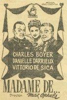 Madame de... - Spanish Movie Poster (xs thumbnail)