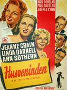 A Letter to Three Wives - Danish Movie Poster (xs thumbnail)