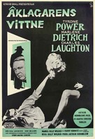 Witness for the Prosecution - Swedish Movie Poster (xs thumbnail)