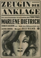 Witness for the Prosecution - German Movie Poster (xs thumbnail)