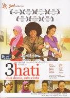 3 hati dua dunia, satu cinta - Indonesian DVD movie cover (xs thumbnail)