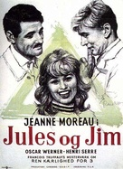 Jules Et Jim - Danish Movie Poster (xs thumbnail)