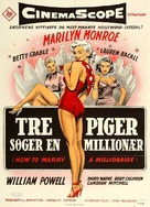 How to Marry a Millionaire - Danish Movie Poster (xs thumbnail)