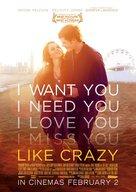 Like Crazy - New Zealand Movie Poster (xs thumbnail)