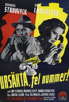 Sorry, Wrong Number - Swedish Movie Poster (xs thumbnail)
