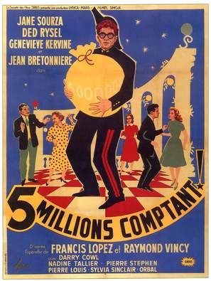 Cinq millions comptant - French Movie Poster (thumbnail)