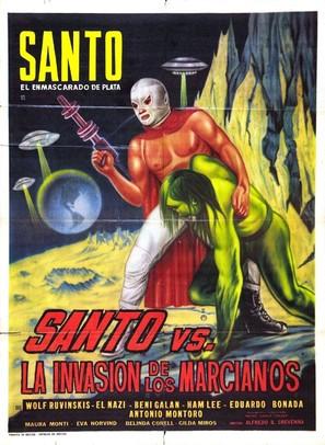 Santo el enmascardo de plata vs la invasión de los marcianos - Mexican Movie Poster (thumbnail)