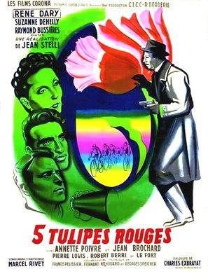 Cinq tulipes rouges