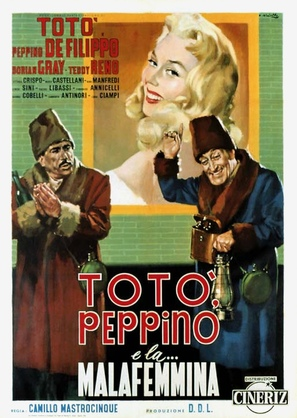 Totò, Peppino e... la malafemmina - Italian Movie Poster (thumbnail)