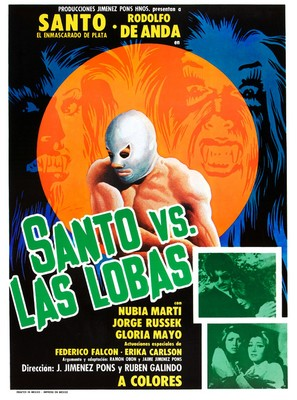 Santo vs. las lobas - Mexican Movie Poster (thumbnail)