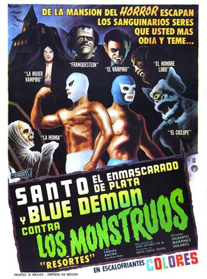 Santo el enmascarado de plata y Blue Demon contra los monstruos - Mexican Movie Poster (thumbnail)
