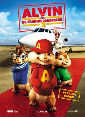 Alvin and the Chipmunks: The Squeakquel - Danish Movie Poster (thumbnail)