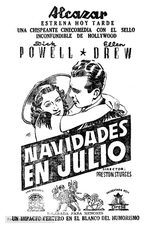 Christmas In July Movie.Christmas In July 1940 Spanish Movie Poster