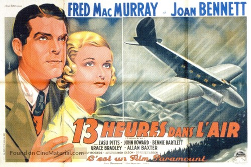 Thirteen Hours by Air - French Movie Poster