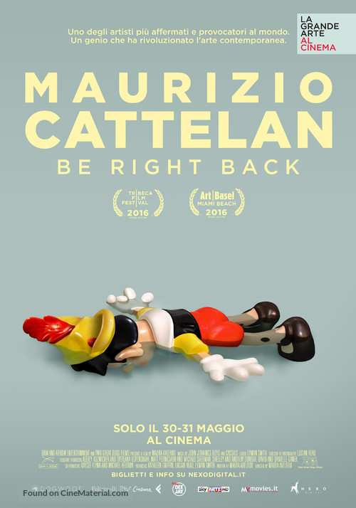 Maurizio Cattelan: Be Right Back - Italian Movie Poster