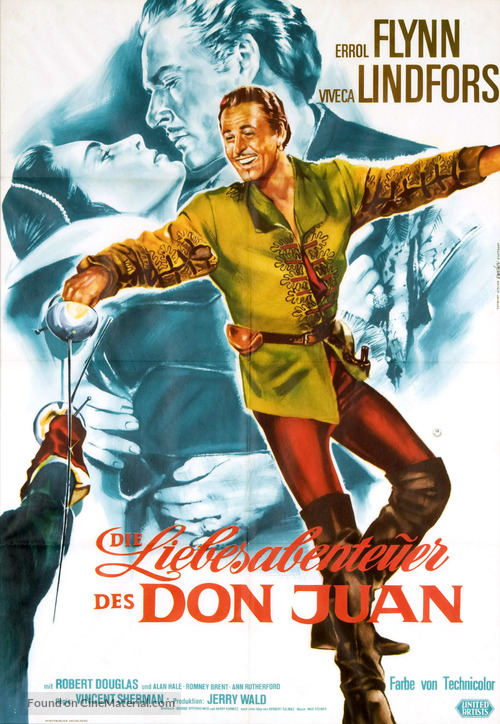 Adventures of Don Juan - German Re-release poster