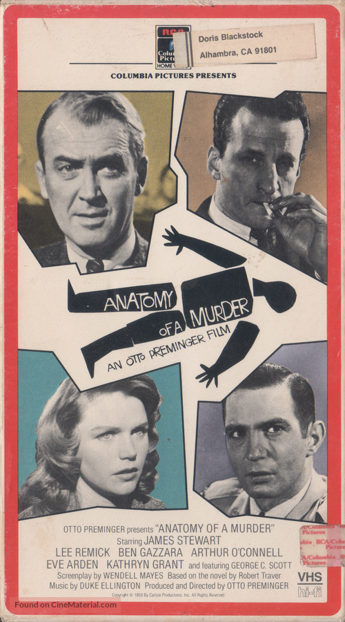 Anatomy of a Murder - VHS cover