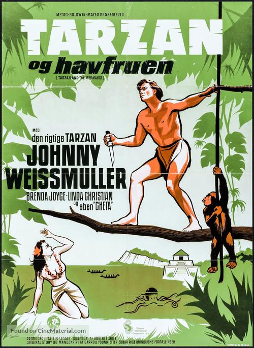 Tarzan and the Mermaids - Danish Movie Poster