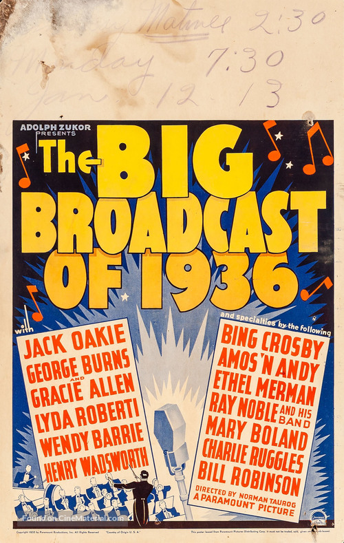 The Big Broadcast of 1936 - Movie Poster