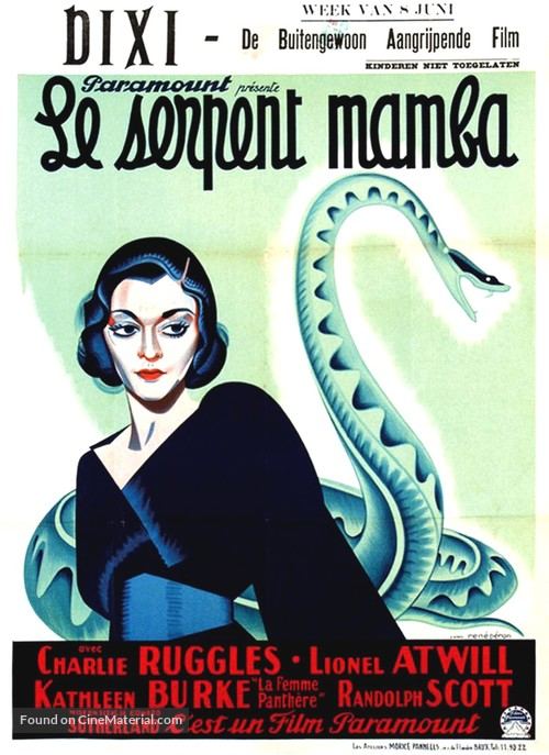 Murders in the Zoo - Belgian Movie Poster