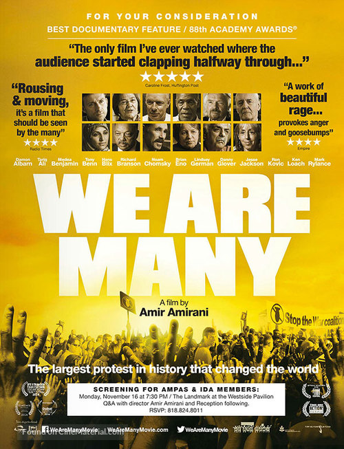 We Are Many - For your consideration movie poster