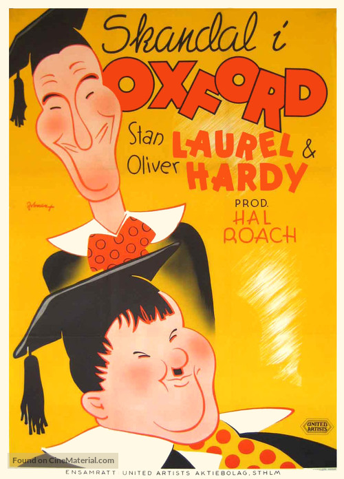 A Chump at Oxford - Swedish Movie Poster