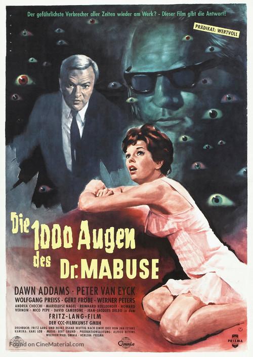 Die 1000 Augen des Dr. Mabuse - German Theatrical movie poster