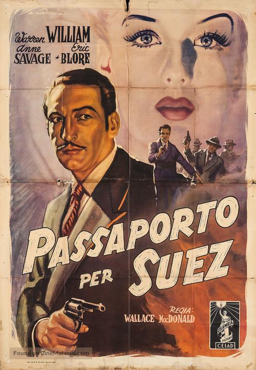 Passport to Suez - Italian Movie Poster