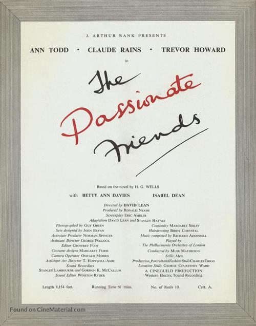 The Passionate Friends - British Movie Poster