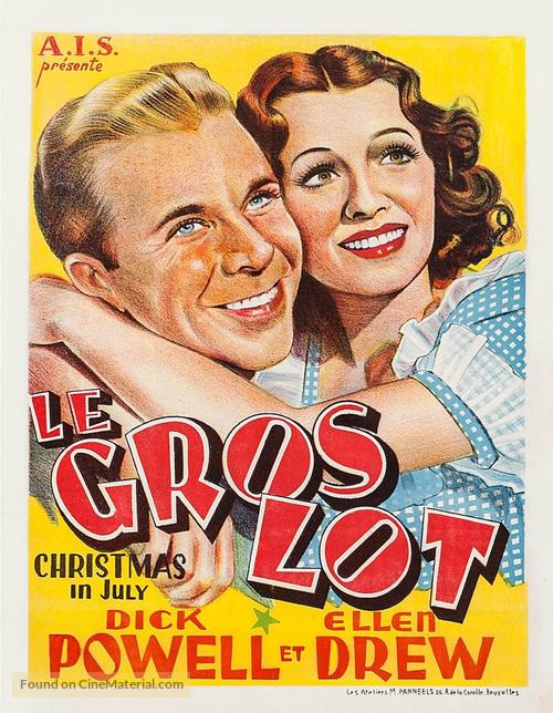 Christmas In July Movie.Christmas In July Belgian Movie Poster