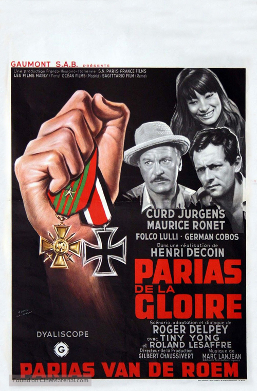 Les parias de la gloire - Belgian Movie Poster