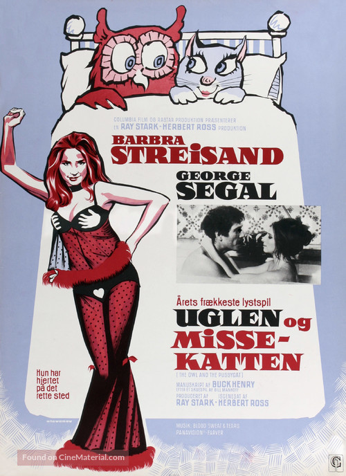 The Owl and the Pussycat - Danish Movie Poster
