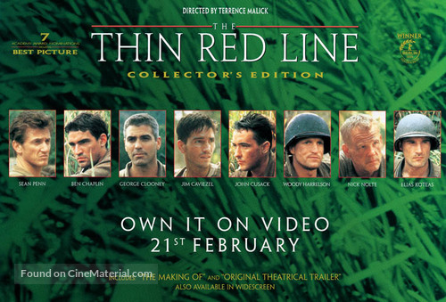 The Thin Red Line - Video release movie poster