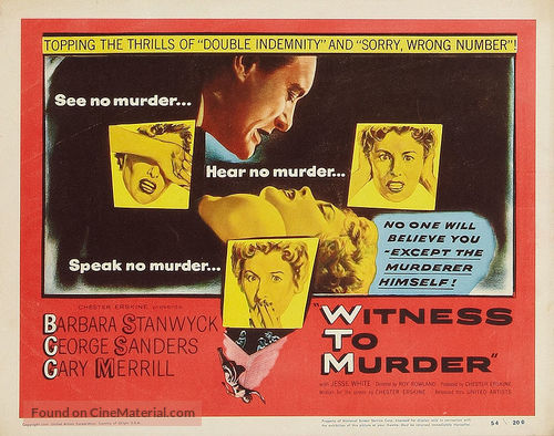 Witness to Murder - Movie Poster