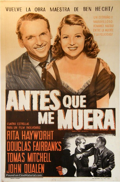 Angels Over Broadway - Argentinian Movie Poster