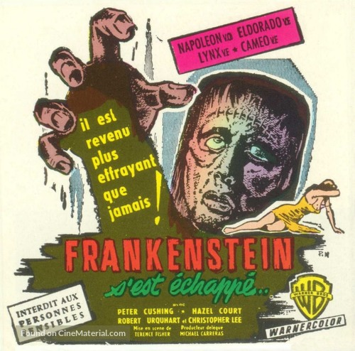 The Curse of Frankenstein - French Movie Poster