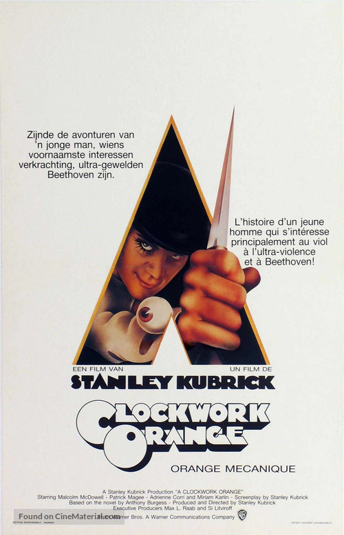 A Clockwork Orange - Belgian Movie Poster