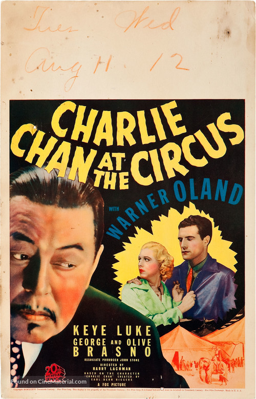 Charlie Chan at the Circus - Movie Poster
