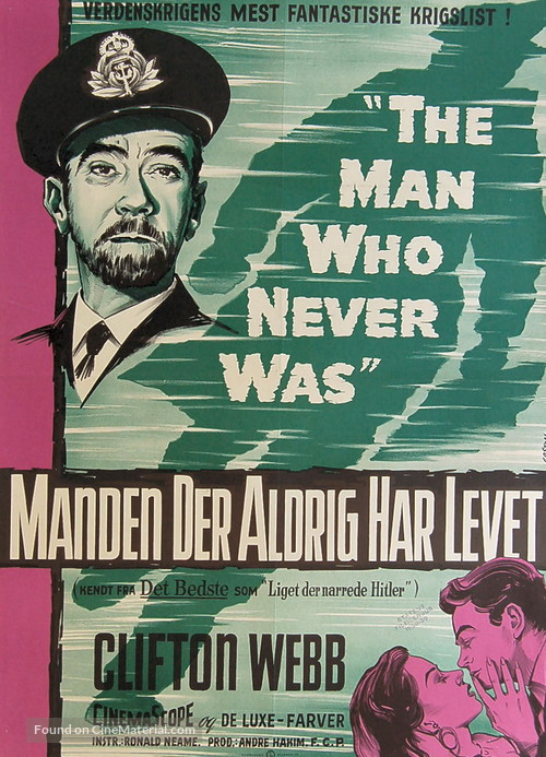 The Man Who Never Was - Danish Movie Poster