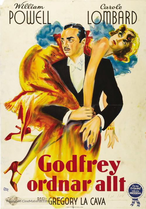 My Man Godfrey - Swedish Theatrical movie poster