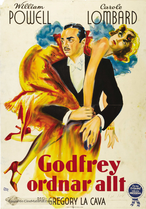 My Man Godfrey - Swedish Theatrical poster