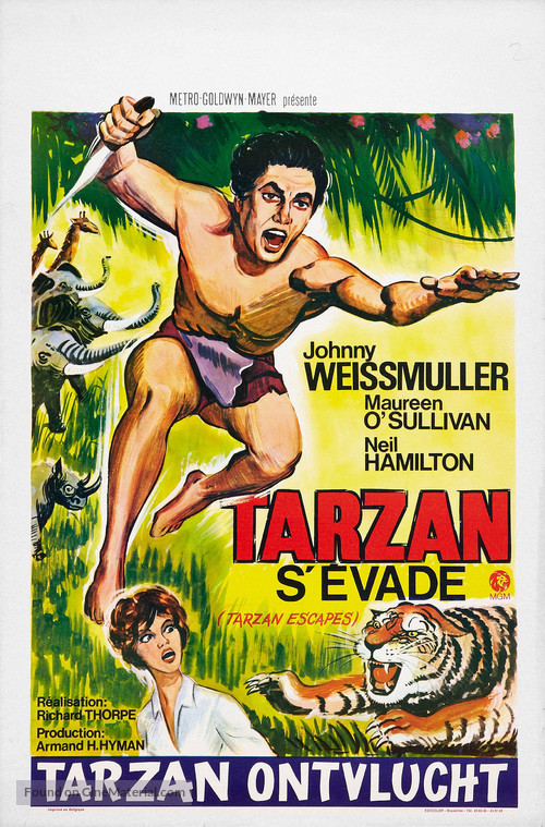 Tarzan Escapes Belgian re-release poster
